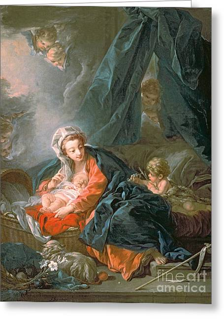 Boucher; Francois (1703-70) Greeting Cards - Madonna and Child Greeting Card by Francois Boucher