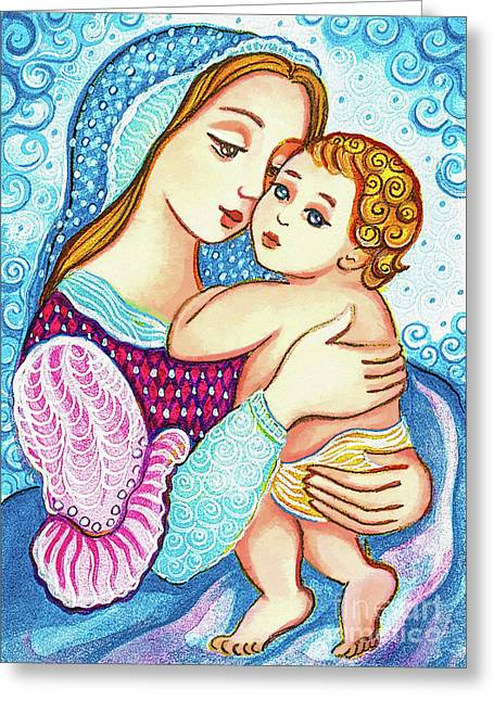 Greeting Card featuring the painting Madonna And Child In Blue by Eva Campbell