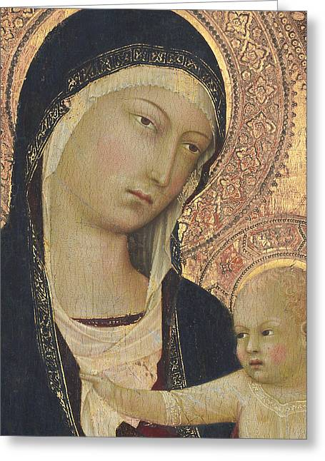 Madonna And Child Greeting Card by Lippo Memmi