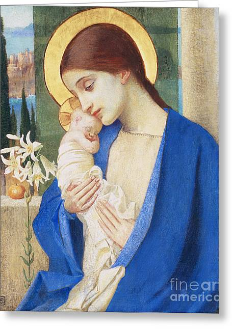 Virgin Mary Greeting Cards - Madonna and Child Greeting Card by Marianne Stokes