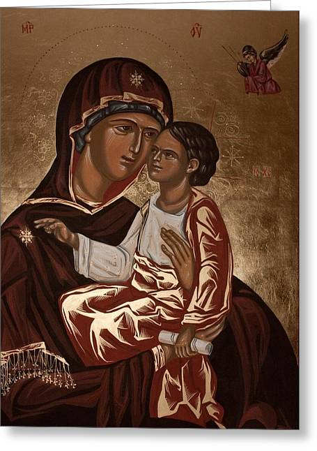 Byzantine Icon Paintings Greeting Cards - Madonna and Child Greeting Card by Olimpia - Hinamatsuri Barbu