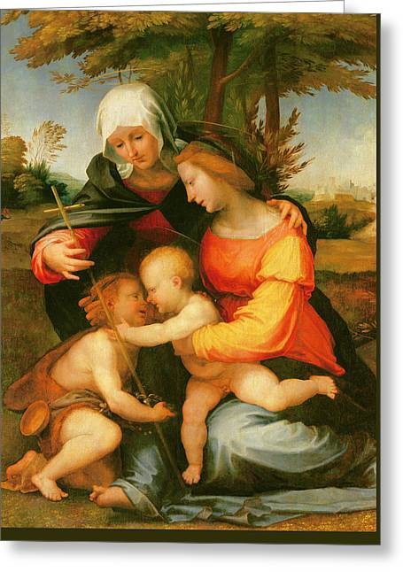 Madonna And Child  Saint Elizabeth And The Infant Saint John The Baptist Greeting Card