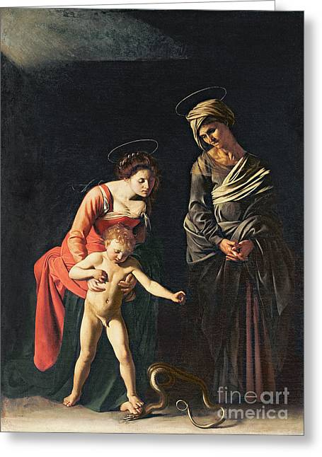 Testament Greeting Cards - Madonna and Child with a Serpent Greeting Card by Michelangelo Merisi da Caravaggio