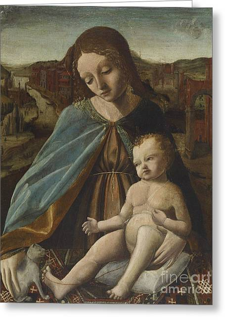 Madonna And Child With Cat Greeting Card