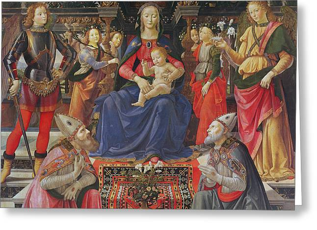 Madonna And Child With Ss Justus, Zenobius And The Archangels Michael And Raphael Greeting Card by Domenico Ghirlandaio