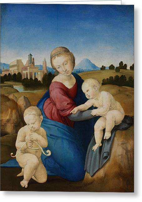 Madonna And Child With The Infant Saint John Greeting Card by Raphael