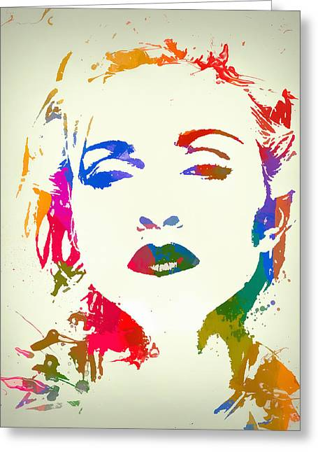 Madonna Color Paint Splatter Greeting Card by Dan Sproul