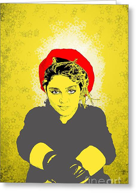 Greeting Card featuring the drawing Madonna On Yellow by Jason Tricktop Matthews