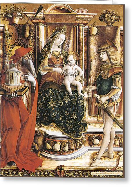 Madonna Of The Swallow Greeting Card by Carlo Crivelli