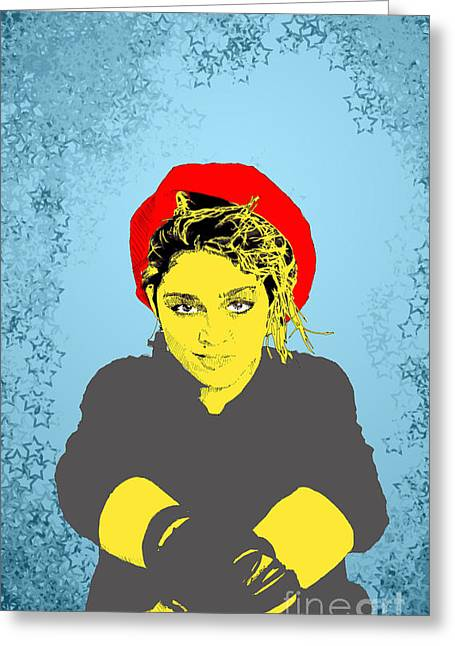 Greeting Card featuring the drawing Madonna On Blue by Jason Tricktop Matthews