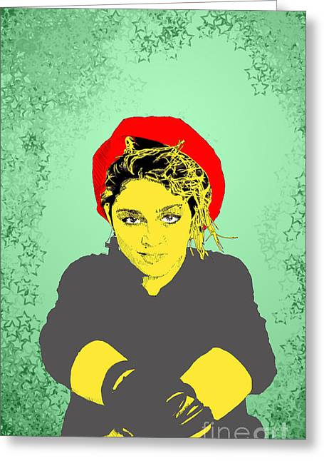 Greeting Card featuring the drawing Madonna On Green by Jason Tricktop Matthews
