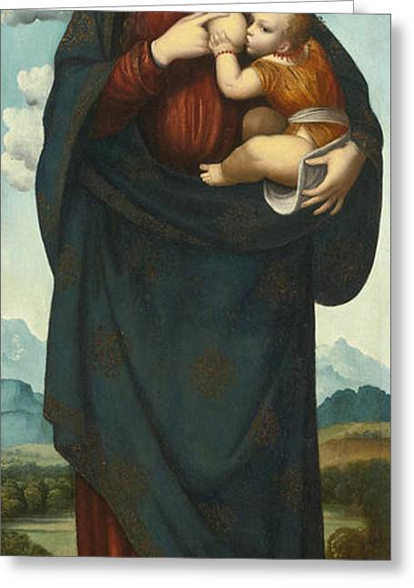 Madonna Standing In A Landscape Nursing The Infant Christ Greeting Card
