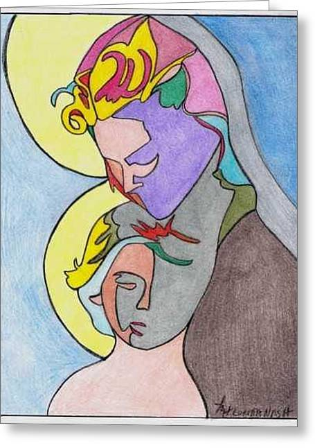 Madonna With Child Greeting Card by Loretta Nash
