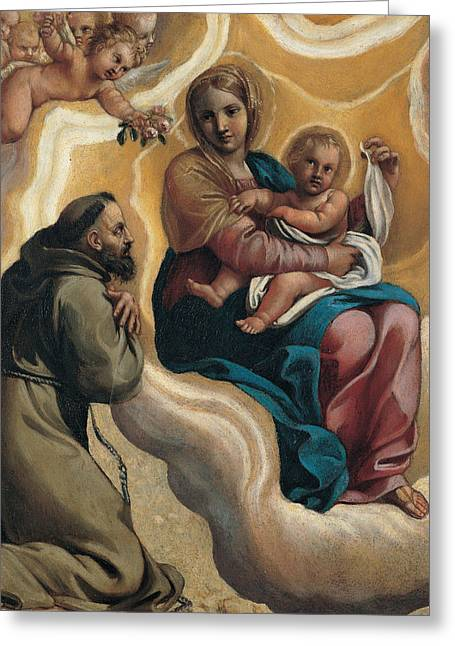 Madonna With The Child And Saint Francis Greeting Card by Antonio Carracci