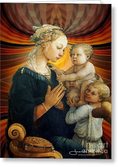 Madonna With The Child And Two Angels Greeting Card by Art Gallery