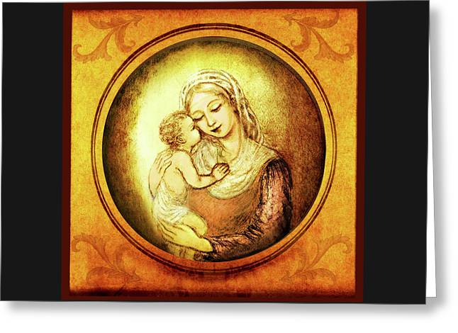 Madonna With The Kissing Child - In Golden Frame Greeting Card