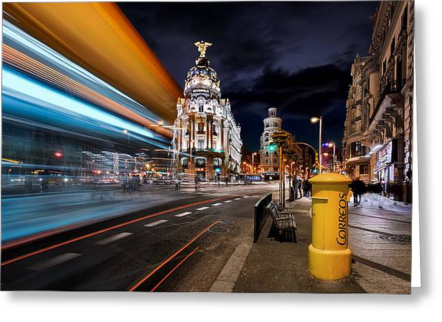 Madrid City Lights IIi Greeting Card by Jes?s M. Garc?a