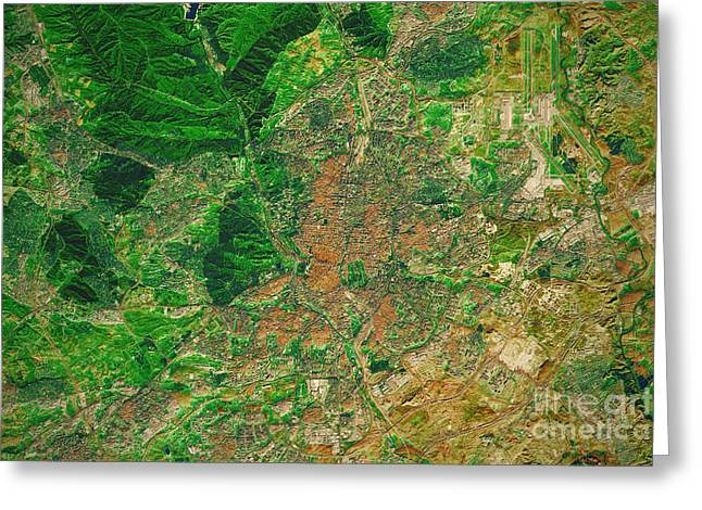Madrid City Topographic Map Natural Color Greeting Card