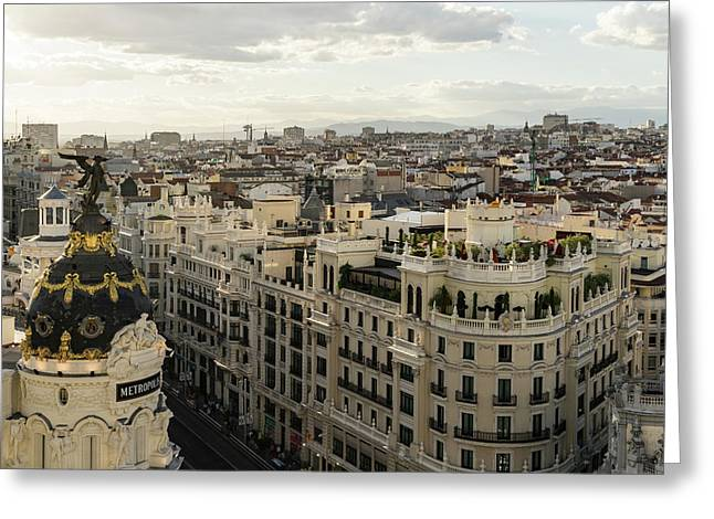 Madrid From Above - A Cityscape With Gran Via And The Famous Metropolis Building Greeting Card