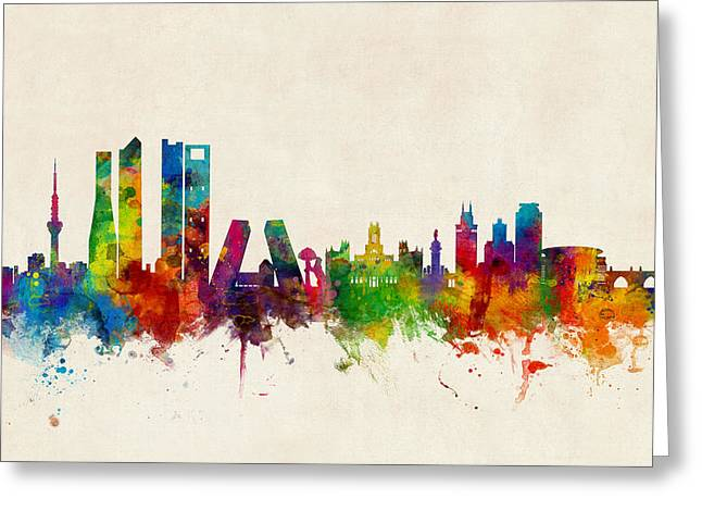 Madrid Spain Skyline Greeting Card by Michael Tompsett