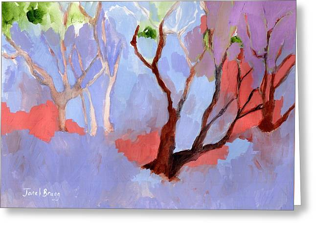 Madrona Trees At The Depot Greeting Card by Janel Bragg