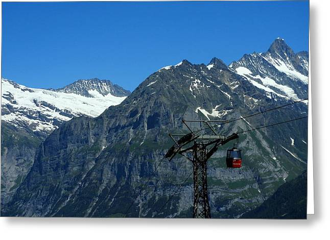 Maennlichen Gondola Calbleway, In The Background Mettenberg And Schreckhorn Greeting Card