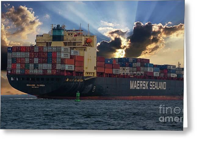 Maersk Sealand Leaving Charleston South Carolina Greeting Card