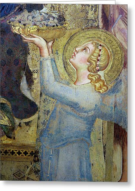 Maesta  Angel Offering Flowers To The Virgin Greeting Card by Simone Martini