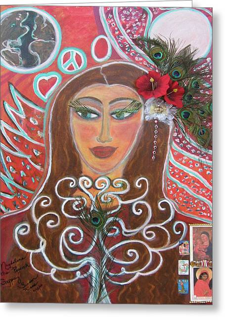 Magdalena The Peacock Gypsy Greeting Card by Susan Risse