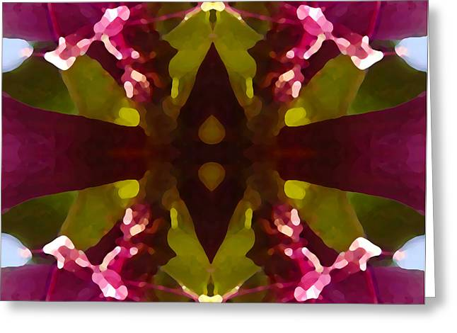 Magent Crystal Flower Greeting Card by Amy Vangsgard