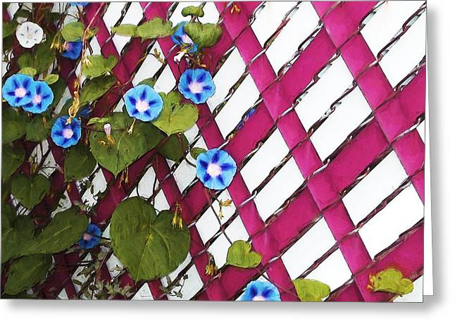 Greeting Card featuring the photograph Magenta Chain-link by Shawna Rowe