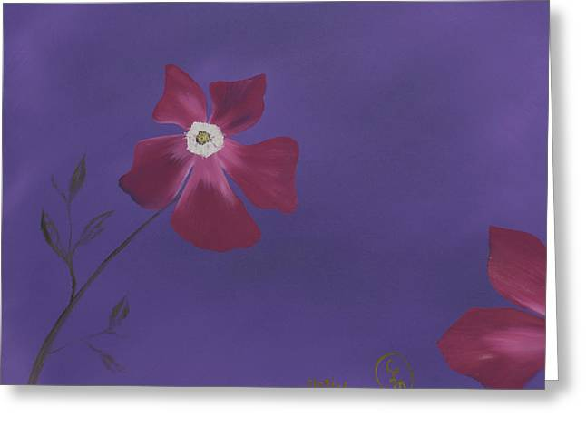 Magenta Flower On Plum Background Greeting Card