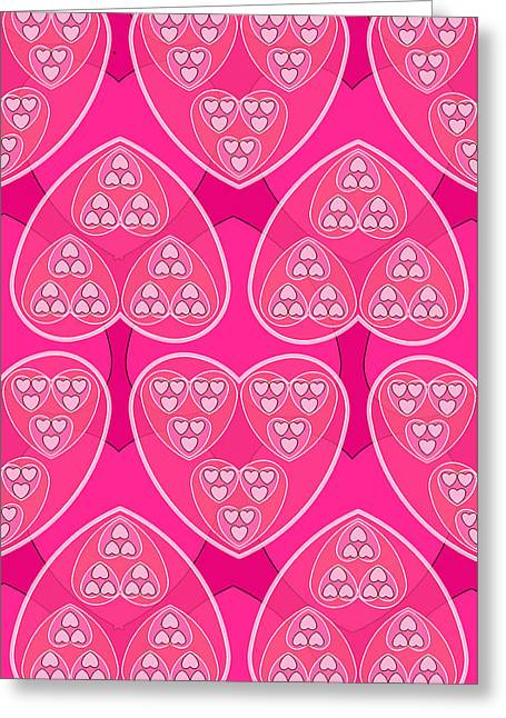 Magenta Hearts Greeting Card by Soran Shangapour