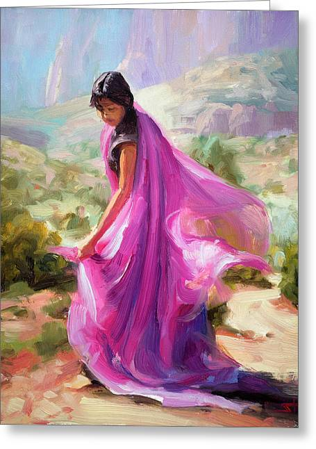 Greeting Card featuring the painting Magenta In Zion by Steve Henderson