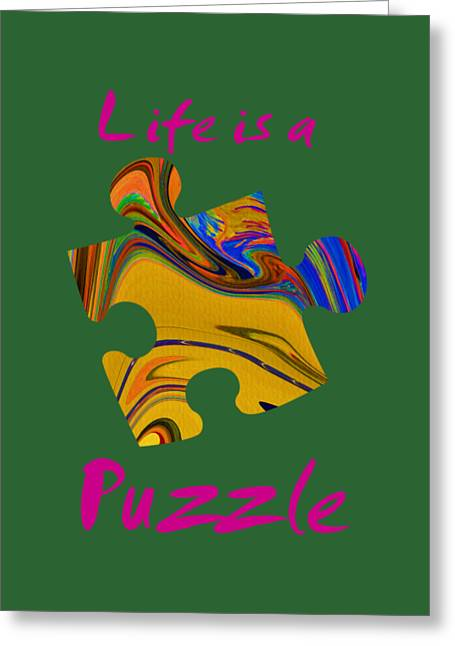 Magenta Life Is A Puzzle Greeting Card by The one eyed Raven