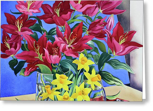 Magenta Lilies And Daffodils Greeting Card