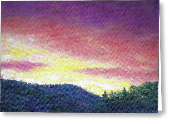 Magenta Sunset Oil Landscape Greeting Card