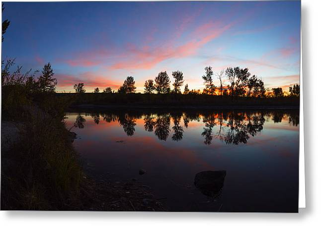 Magenta Sunset Over Boise River In Boise Idaho Greeting Card by Vishwanath Bhat