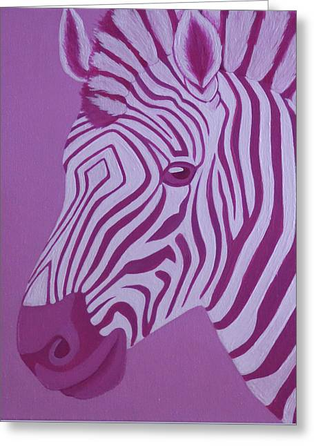 Magenta Zebra Greeting Card