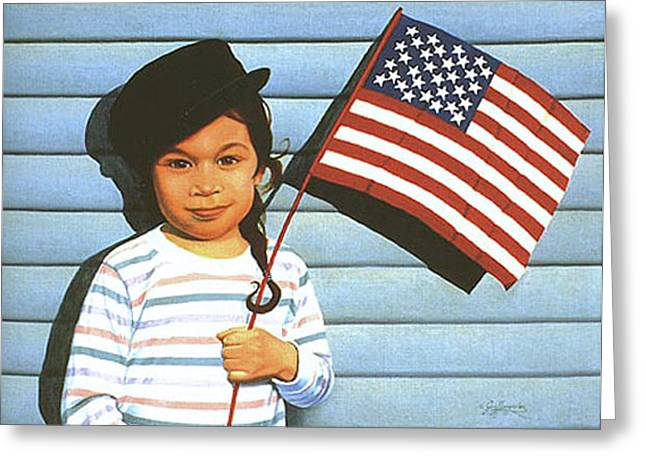 Maggie Holding The Stars And Stripes Greeting Card by Gary  Hernandez