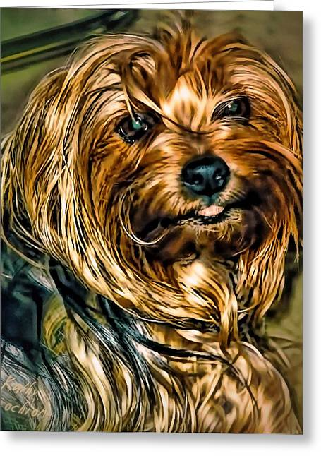 Maggie Smiles Greeting Card by Kathy Tarochione