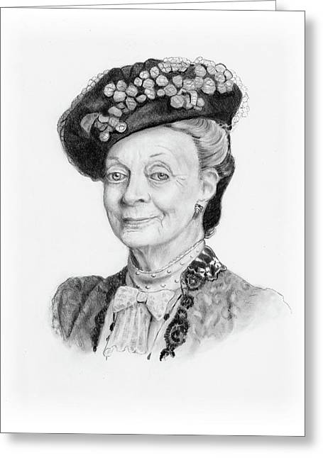 Maggie Smith As The Dowager Countess, Downton Abbey Greeting Card by Joyce Geleynse
