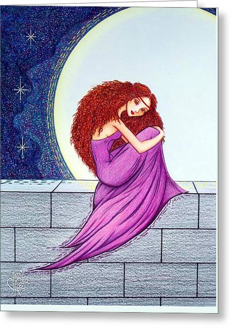 Maggie's Lullaby Greeting Card by Danielle R T Haney