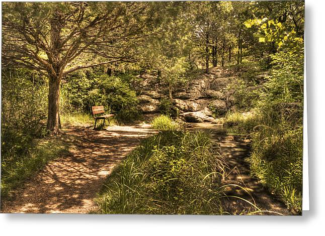 Greeting Card featuring the photograph Magic Bench by Tamyra Ayles