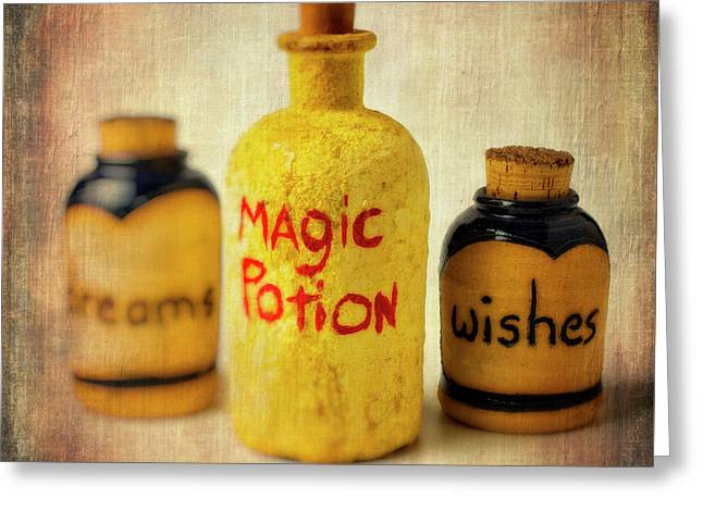Magic Bottle Greeting Card by Garry Gay