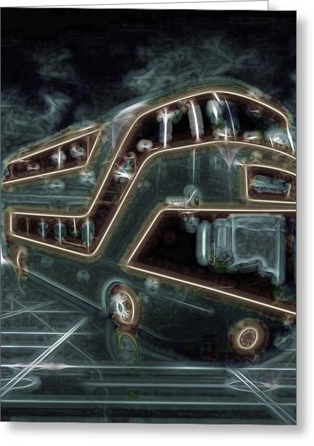 Magic Bus On The Grid Greeting Card by Mario Carini