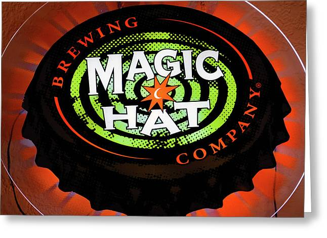 Magic Hat Neon Beer Sign Greeting Card by David Lee Thompson
