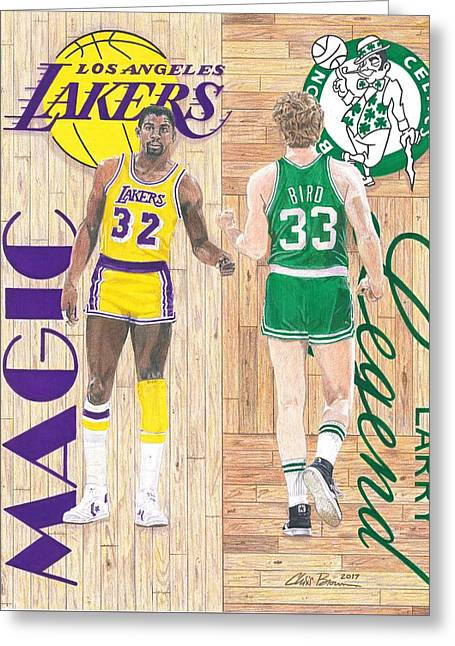 Magic Johnson And Larry Bird Greeting Card by Chris Brown