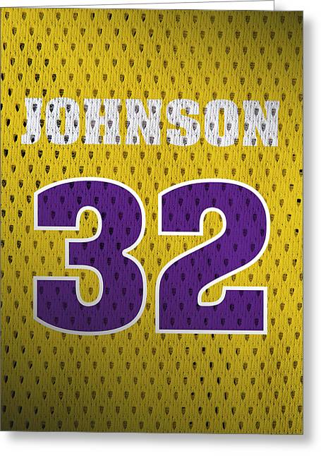Magic Johnson Los Angeles Lakers Number 32 Retro Vintage Jersey Closeup Graphic Design Greeting Card