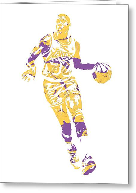 Magic Johnson Los Angeles Lakers Pixel Art 10 Greeting Card